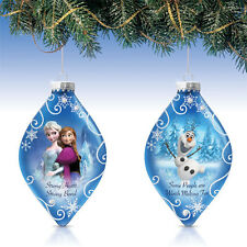 Disney FROZEN Heirloom Glass Ornaments Elsa, Anna & Olaf  Set of 2 NEW