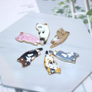 5Pcs/lot Kawaii Alloy Cat Pendant Animal Enamel Charms DIY Necklace Keychain