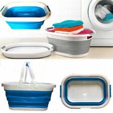 Folding Collapsible Laundry Basket Clothes Storage Washing Space Saving Bin Blue