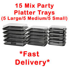 More details for 15x mix catering platters trays with lids for parties, sandwiches, buffet cakes