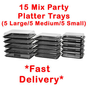 15X Mix Catering Platters Trays With Lids For Parties, Sandwiches, Buffet Cakes