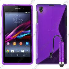 Housse Etui Coque Silicone Motif S-line Violet Sony Xperia Z1 L39H + Mini Stylet