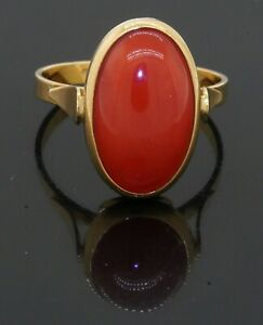 Italian 18K yellow gold 14.25 x 8.5mm Natural Red coral solitaire ring size 6.25