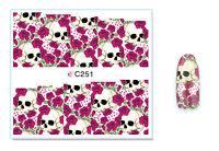Red Roses Skulls Nail Art Water Transfer Decal UV Acrylic Polish Tips Design