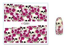 Red Roses Skulls Nail Art Water Transfer Decal UV Acrylic Polish Tips Design