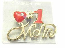 Vintage Jewelry Enamel Red Mom Brooch #1 Mom Heart