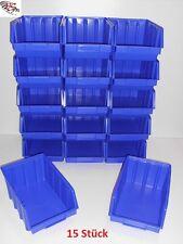 15 Stapelboxen Gr.4 Stapelkästen Stapelkisten Sichtlagerkästen 340x222x157mm Neu