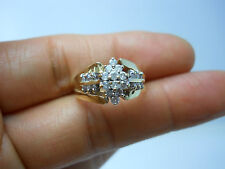 STUNNING 10K YG LADIES DIAMOND CLUSTER RING SIZE 6.25 .35 CARAT TW  B34344