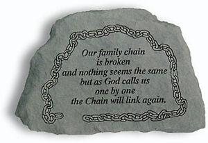 Family Memorial Garden Stone Plaque Grave Marker Ornament family chain is broken