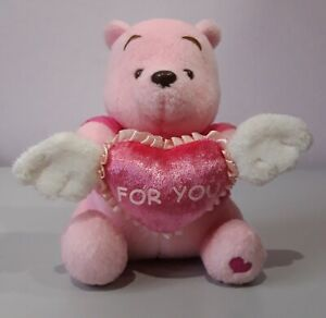 DISNEY PINK WINNIE POOH BEAR HOLD LOVE HEART WINGS PLUSH STUFFED DOLL SOFT TOY
