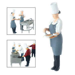 Resin Mini Figure Cook Doll Street Scene Train Toy Collectibles Chef Grey