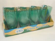 4 Acrylic Highball Glass Tumbler Set Drinking Plastic 19oz Green Pool Outside