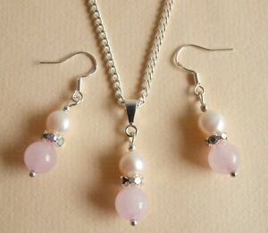 Pink Rose Quartz Gemstone Pearl Diamante Wedding Bridesmaid Prom Jewellery Set