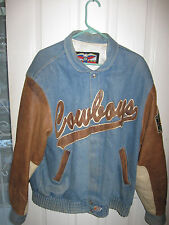DALLAS COWBOYS JACKET LEATHER AND DENIM SZ 42 BY JEFF HAMILTON USED.