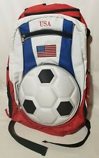2010 FIFA World Cup USA Team 3D Soccer Ball Backpack FLAG Red White Blue