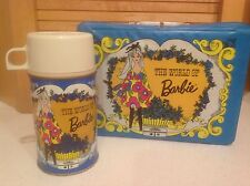 Vintage 1971 The World Of BARBIE Vinyl Lunchbox & Metal Thermos Nice Condition