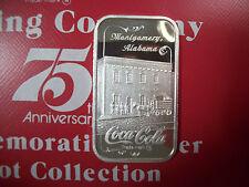 999 1 TO FINE SILVER INGOT BAR COCA COLA COKE MONTGOMERY, ALABAMA 75TH ANN