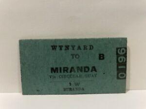 NSWGR Railway Ticket Wynyard To Miranda via Circular Quay Unused
