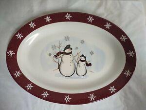 "Royal Seasons Stoneware  14"" Snowman & Snowflake Oval Serving Platter"