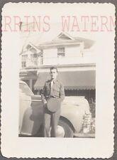 Vintage Car Photo Man w/ 1941 Chrysler Automobile 706470