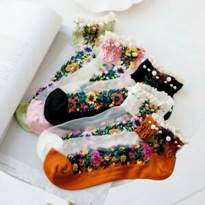 5 Pairs Women Socks Sheer Embroidered Beaded Silky Thin Ankle Socks Summer Cute