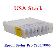 US Stock-E p s on Stylus Pro 7800/9800 Refilling Cartridge 8pcs / set+ 4 Funnels