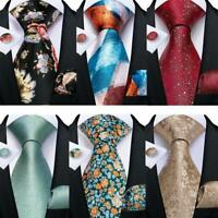 Paisley Check Novelty Red Green Blue Teal Silk Tie Set Mens Necktie Wedding Gift