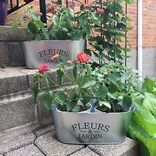 Galvanized Metal Planter Decor Flowers & Garden Set of 2