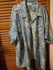 Blue floral silk  SHIRT SIZE -4XB short sleeve/ breast pocket