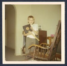 Boy Holding Book & Ruler by Old Rocking Chair Vintage Square Photo 1960's-70's