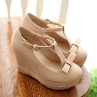 Stylish Women Wedge Platform Heels Mary Jane British Ankle Strapy Shoe T-strapy