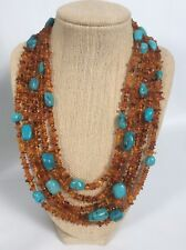 Jay King Mine find  sterling Silver 925 amber Turquoise 5 Strands necklace