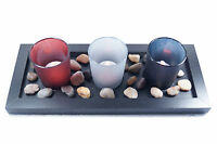 LED Flameless Votive Flickering Candles (Cups, Tray and Rocks) - 3 Piece Set