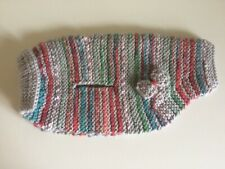 Beautiful Hand Knitted Grey & Multi Colour Stripe Dog Coat, New, For Small Dog