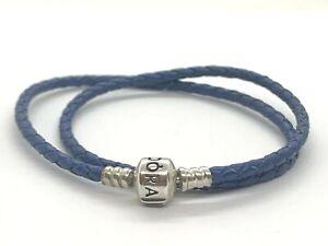 "Authentic Pandora Dark Blue Braided Double-Leather Bracelet 590705CDB-D 41cm/16"""