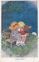 Hilda Cowham    Children sit on bench and watch the moon go down