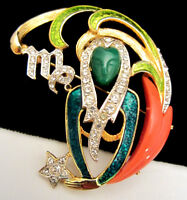 "Rare Vintage 2"" Signed DeNicola Enamel Jeweled Zodiac Virgo Figural Brooch Pin"