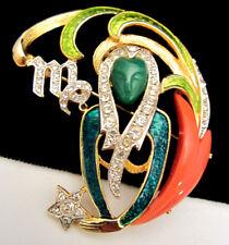 "Rare Vintage 2"" Signed DeNicola Enamel Jeweled Zodiac Virgo Pin Brooch Pendant"
