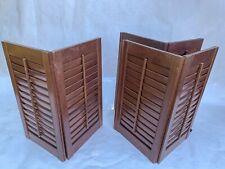 "Set of 3 Interior Window Shutters Medium Wood Louver Plantation 35"" W x 31"" H"