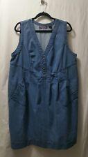 Taillissime 20W Blue Denim Jean Sleeveless V-neck Tie Back Pocket Dress Jumper
