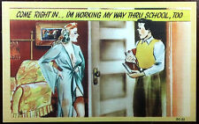 1930's Postcard Pin Up Hot Girl And a Nerd Working Her Way To School Funny
