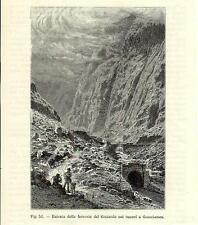 Stampa antica GOSCHENEN Entrata San GOTTARDO GOTTHARD Switzerland 1896 Old Print