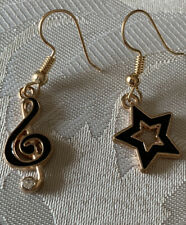 Handmade Fashion Jewelry Charms Gold Dainty Earring Treble Clef Star Gifts