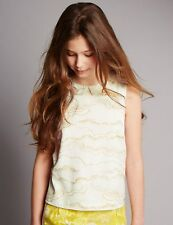 M&S Autograph Louise Wilkinson Cream Gold Cloud Print Blouse 7-8 Years