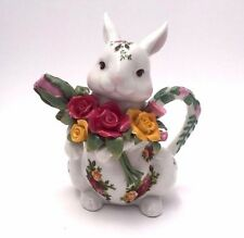 Royal Albert Old Country Roses Character/Bunny Rabbit Teapot Fine China - Easter