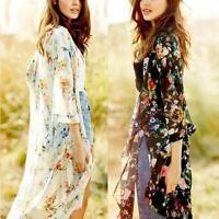 Women Ladies Loose Floral Shawl Kimono Cardigan Boho Chiffon Coat Jacket Blouse