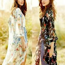 Women Ladies Loose Floral Shawl Kimono Cardigan Boho Chiffon Coat Jacket Blouse