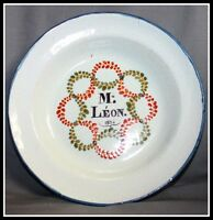 BELLE ASSIETTE PATRONYMIQUE EN FAIENCE PROBABLEMENT NORD DE LA FRANCE 1834 (B)