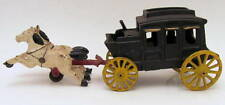 Excellent Hand Painted Vintage Cast Iron 2 Horses & Stage Coach Toy