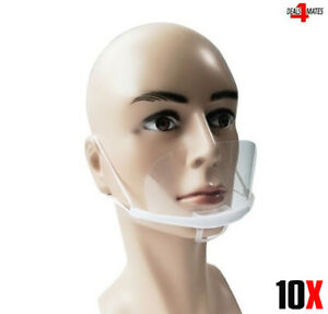 10x Mouth Shield Visor Protection Mouth Mask Shield Transparent Clear Plastic UK